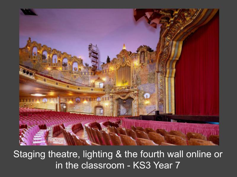 Staging Theatre, Lighting & The Fourth Wall - Online or in the Classroom