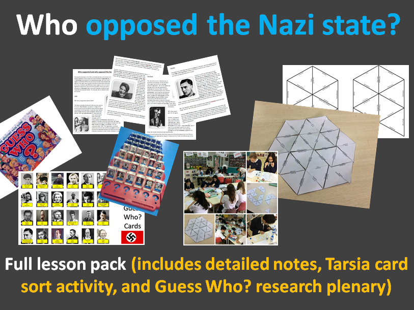 Who opposed the Nazis? Full lesson pack (detailed notes, Tarsia card sort, Guess Who? plenary)