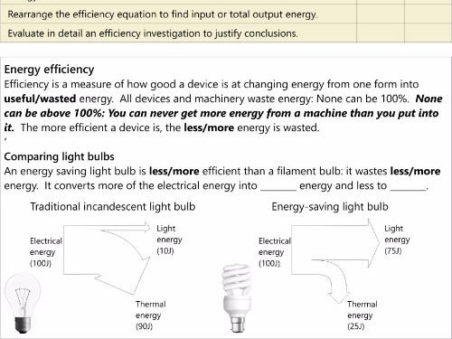 GCSE AQA P1.7 Energy and Efficiency Work Book