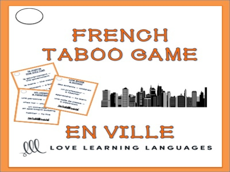 GCSE FRENCH: En Ville - French Taboo Speaking Game