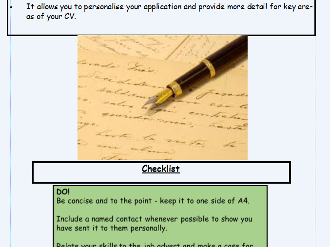 KS3 English Language/Literacy writing a cover letter guide