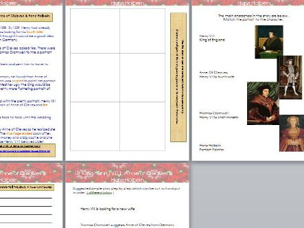 Henry VIII & Anne of Cleaves Hans Holbein Portrait Worksheets, Storyboard, literacy sequencing.