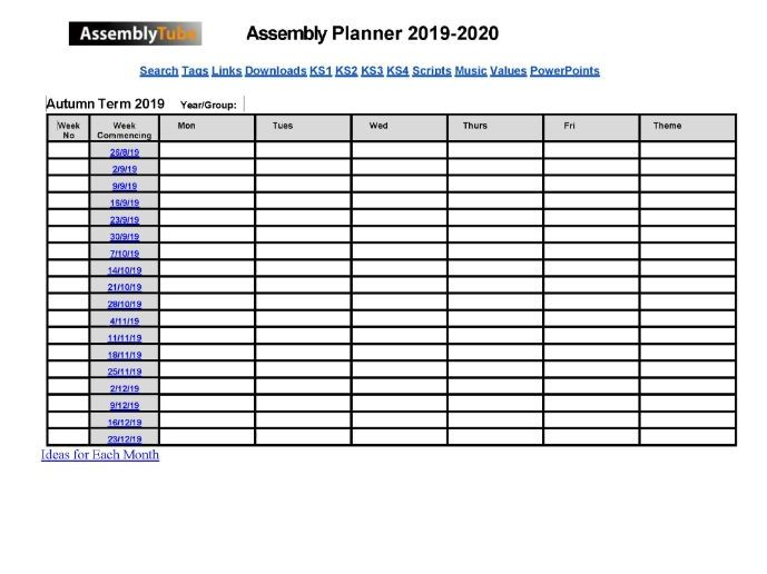 Assembly Year Planner 2019-2020