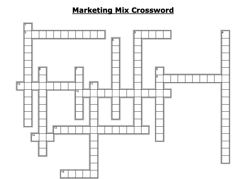 Marketing mix crossword with answers by jamesabela teaching cover image ccuart Images
