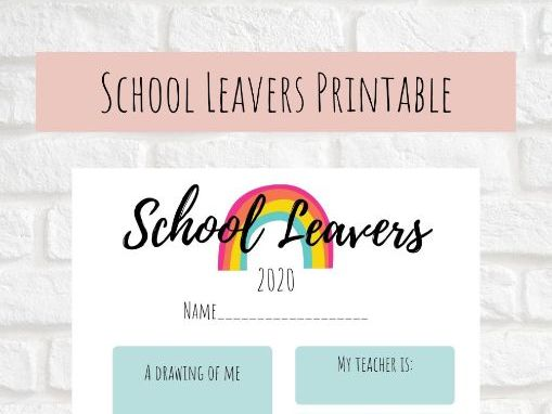 School Leavers Book Insert Year 6