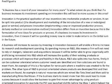 A level Business Innovation 25 marker  A* full answer