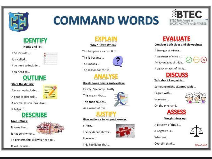 BTEC TECH SPORT - Command Words