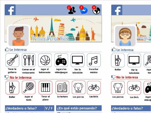 Spanish Yr 8 and 9- Spare time activities - Facebook worksheet (French and Spanish)