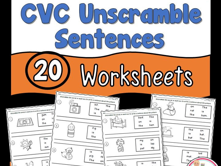 Cvc Unscramble Sentences Worksheets By Teacherstakeout Teaching
