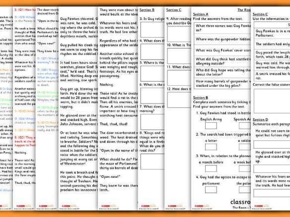 The Room Year 6 Bonfire Night Whole Class Guided Reading Comprehension