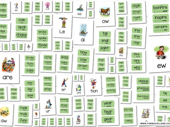 RWI set 3 flashcards and green word cards - phonics/spelling