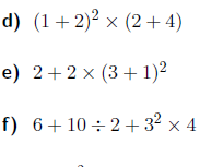 BIDMAS-Order of operations worksheets (with solutions)