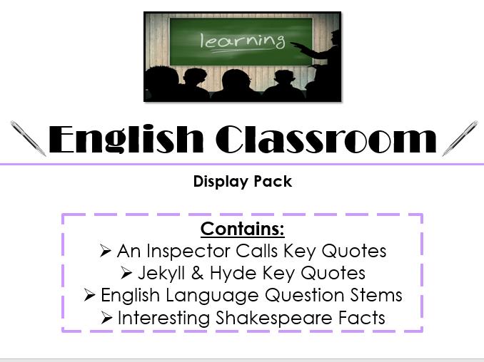 English Classroom Display Pack 2