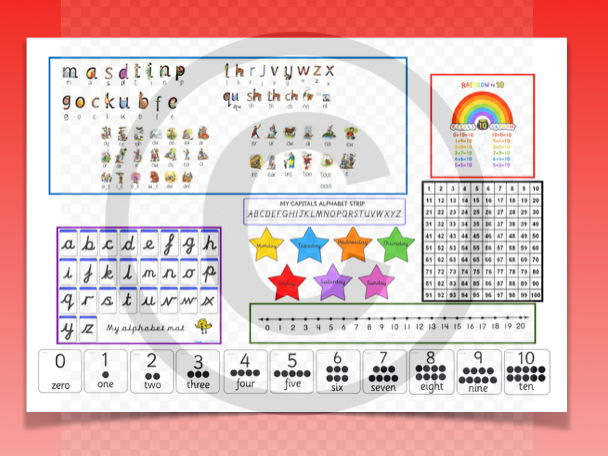 Table mat for Year 1 phonics maths