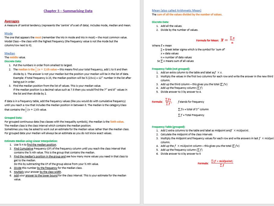 GCSE Statistics (9-1) Summarising Data Revision Notes