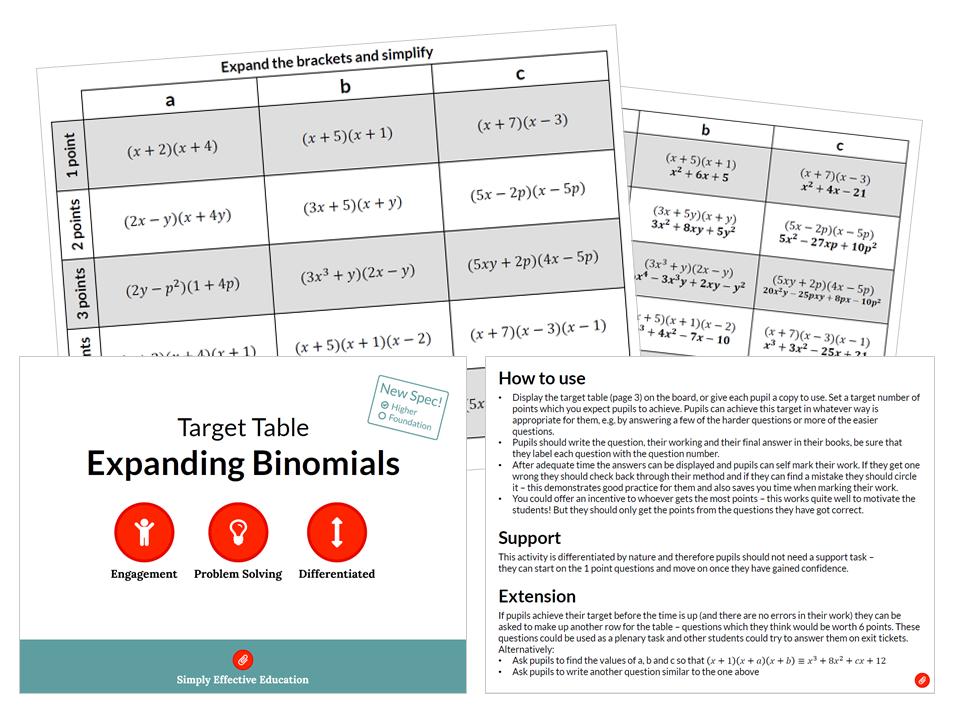 Expanding Binomials (Target Table)