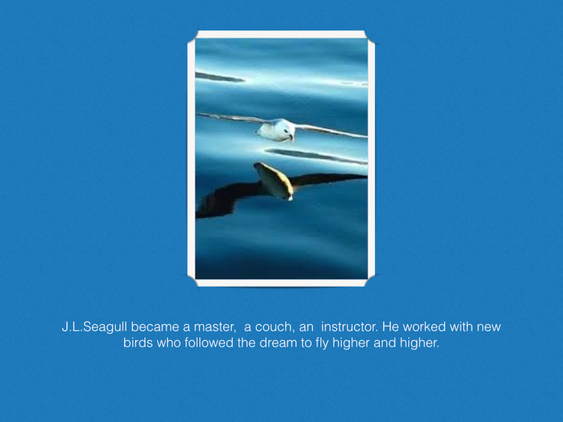 """Jonathan Livingston Seagull - a story"" written by Richard Bach . Following passion in life."