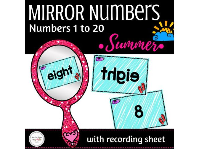 Summer Math Centre - Numbers 1 to 20 Activity : Secret Number in Mirror