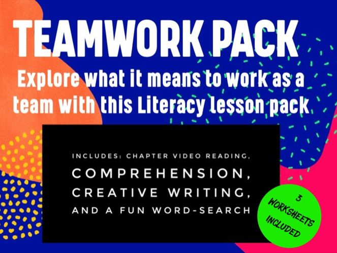 'Working as a Team' - 3 resource pack: Comprehension & Creative Writing Activity + Word-Search
