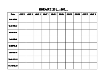 Horaire/Timetable