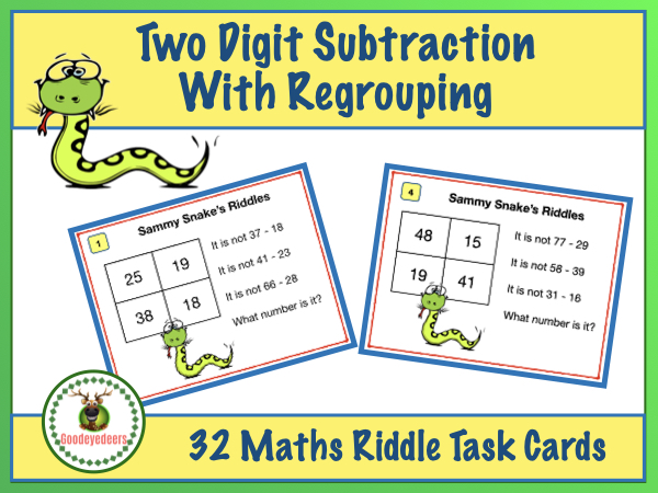 Maths Riddles Task Cards - Two-Digit Subtraction - With Regrouping