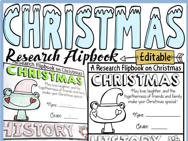 CHRISTMAS EDITABLE FLIPBOOK: INFORMATION REPORT WRITING RESEARCH TEMPLATES