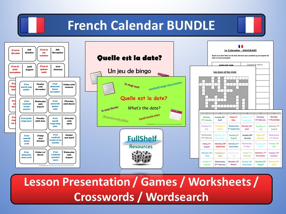 French Calendar BUNDLE (Days, Months, Dates)