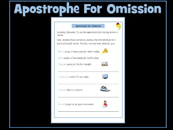 Apostrophe for Contraction / Omission: Free Worksheet