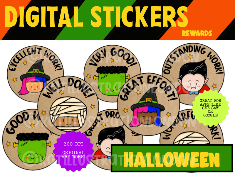 Cute Halloween Digital Stickers For See Saw and Google Classroom