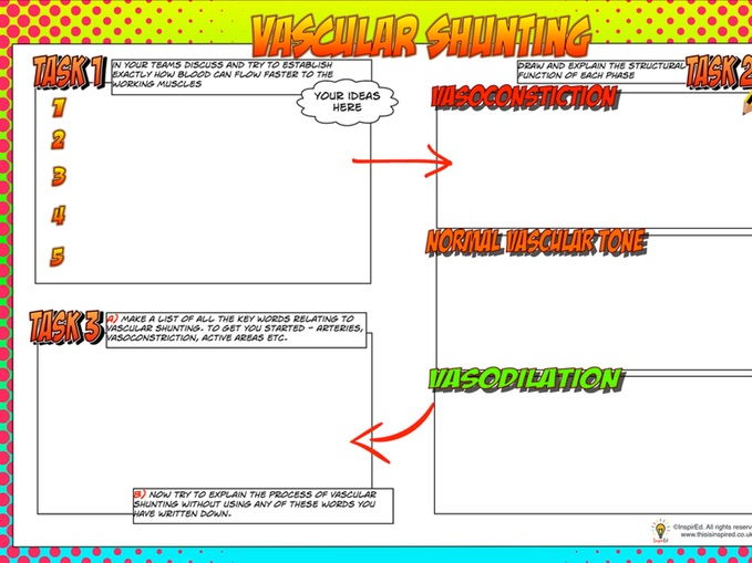•	NEW Edexcel GCSE PE Unit 1 – Topic 1.2 –  Lesson 4 –Vascular Shunting (Main task worksheet only)