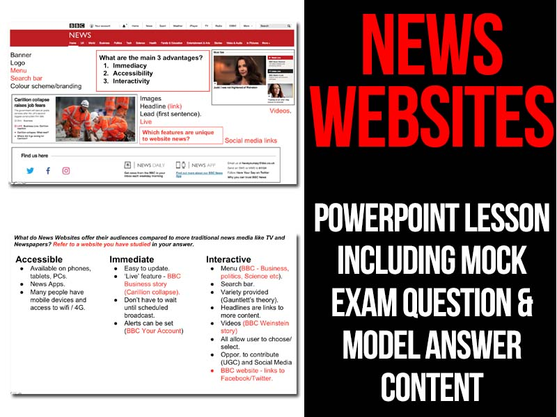 News Websites - analysis of key features (ideal for WJEC GCSE Media Section B)