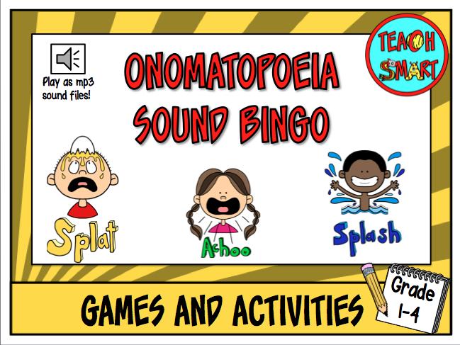 Onomatopoeia sound bingo