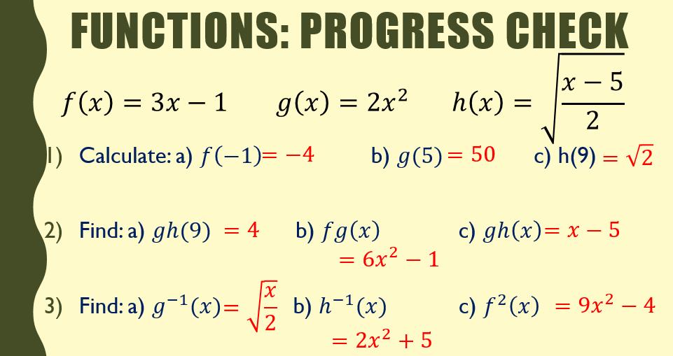 Functions Mini Test (Starter/Plenary)