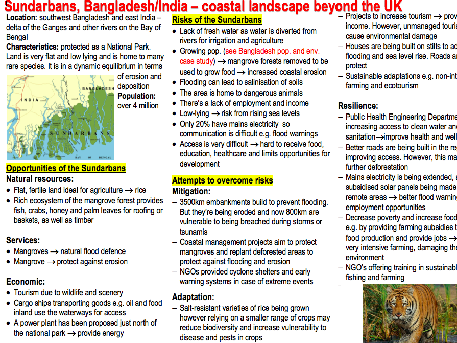 AQA A-level Geography Physical case studies