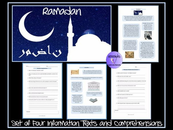 The Muslim Festivals of Ramadan and Eid–Ul-Fitr - Set of Four Information Texts and Comprehensions