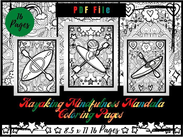 Kayaking Mindfulness Mandala Colouring Pages, Sport Printable Colouring Sheets PDF