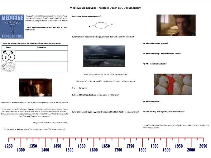 9-1 Medieval Apocalypse - Worksheet to support the BBC Documentary