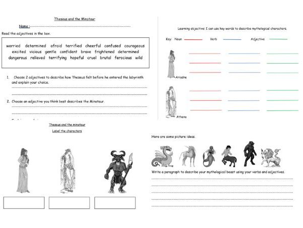 Theseus and the Minotaur set of 4 English descriptive worksheets for LA/MA KS2.