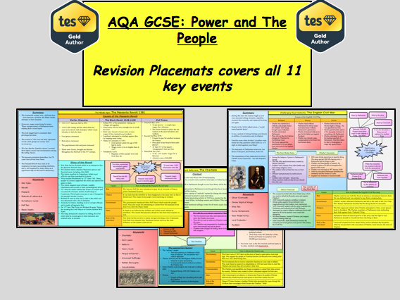 AQA GCSE History Revision: Power and the People -  Revision Placemats