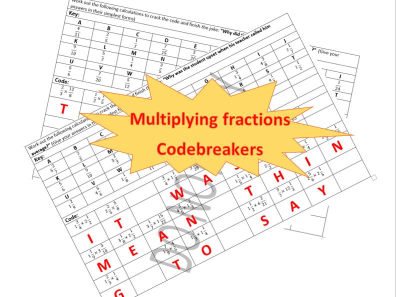 Multiplying fractions codebreakers