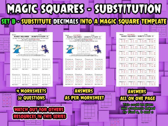 MAGIC SQUARES - SUBSTITUTION - SET B - (Substitute DECIMALS into magic  square template)