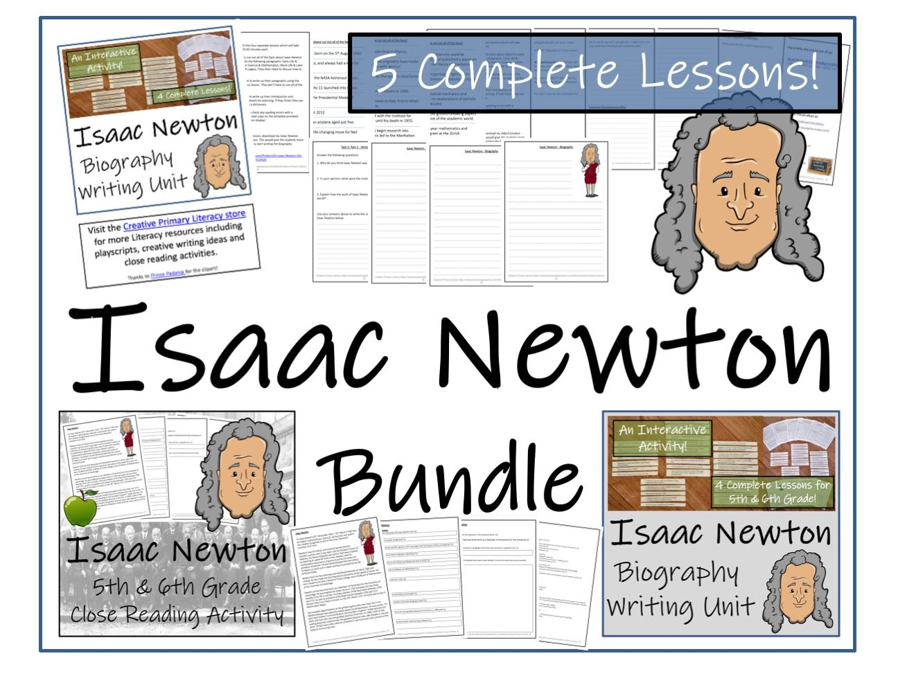 UKS2 History -Isaac Newton Reading Comprehension & Biography Bundle