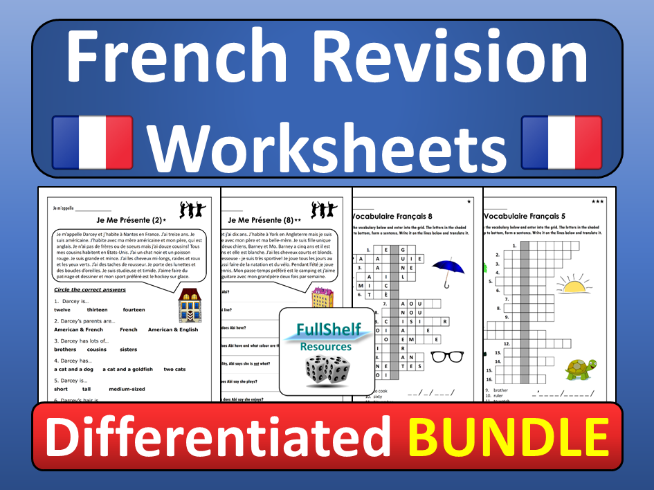 French Revision Worksheets Home Learning