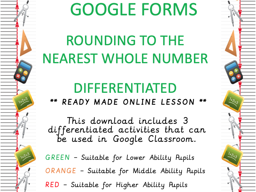 Differentiated - Rounding to the nearest whole number - Online Learning - Google Forms