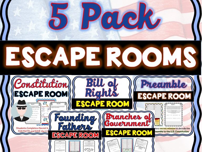 5 Constitution Escape Rooms:Bill of Rights, Branches, Preamble, Founding Fathers