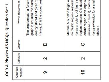 3.4 Materials OCR A Physics for AS and A level Multiple choice questions