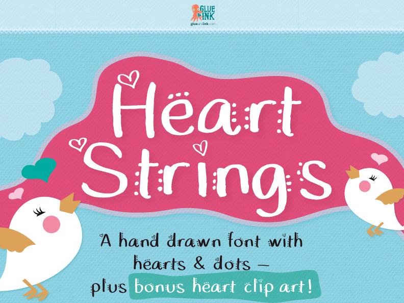 Commercial Font + Clip Art: Heart Strings