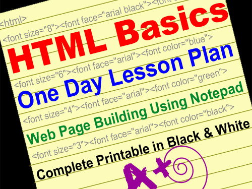 HTML One Day Lesson Plan > Webpage Building Using Notepad > NO Prep  Printable!