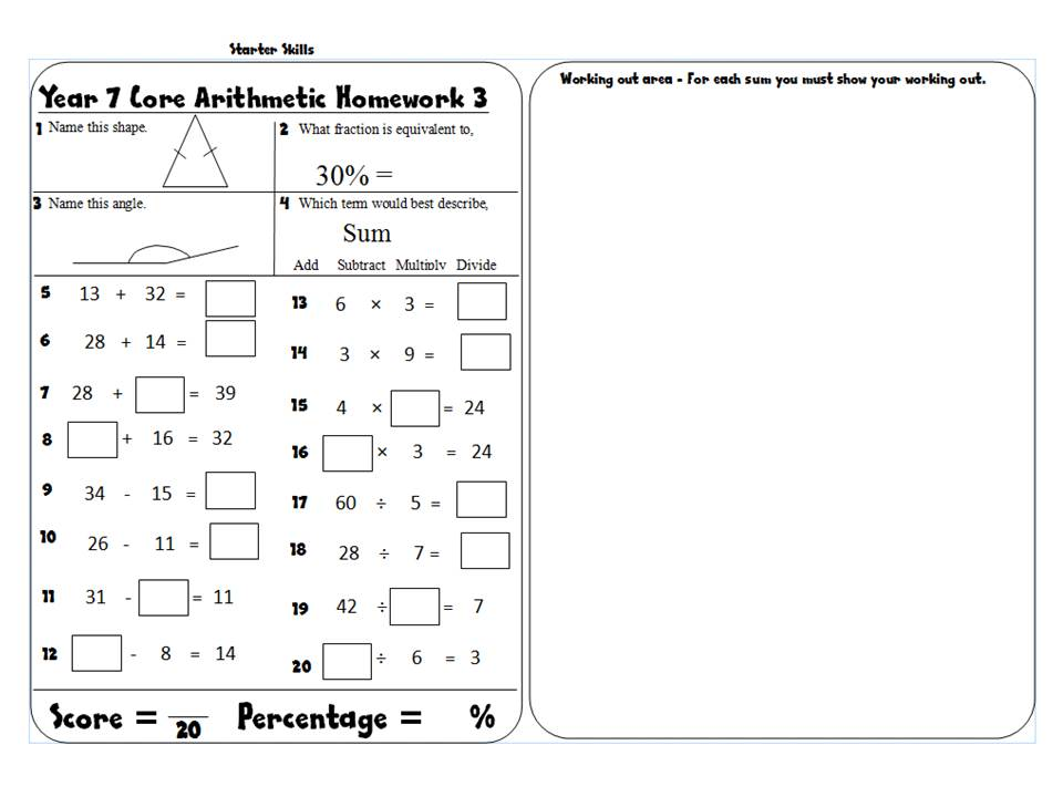 Year 7 Arithmetic Homework Booklet - With Answers Core/Extension - Term 1