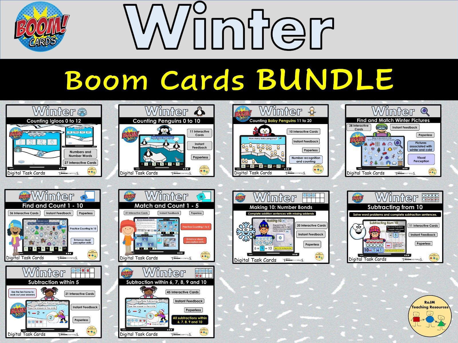 Winter Seasons Bundle Activities Counting Addition Subtraction Visual Perception Number Bonds to 10 and More BOOM Cards Distance Home Learning